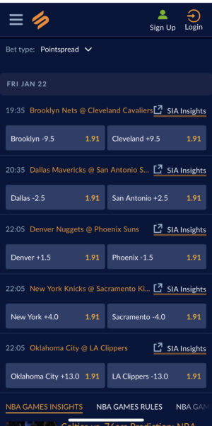 NBA games on the Sports Interaction app